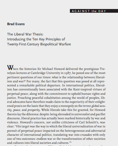 brad evans liberal war thesis