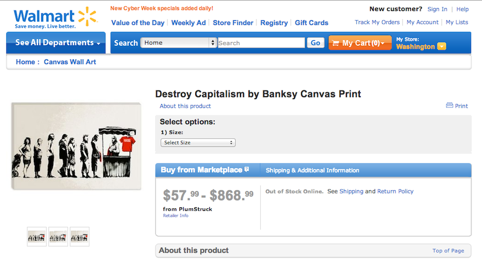 "walmart was briefly selling fake ""destroy capitalism"" banksy prints ..."