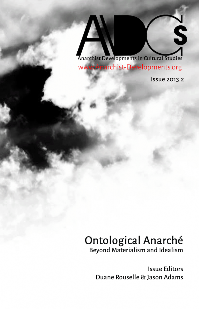 ontological anarche anarchist developments cultural studies