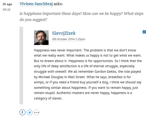 zizek on happiness