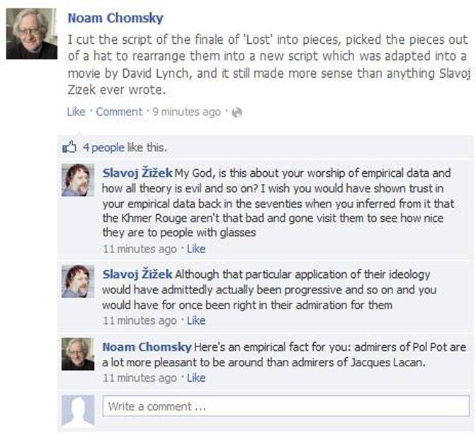 Noam Chomsky vs Slavoj Zizek Facebook