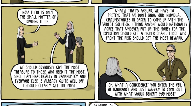 In Which Marx, Hobbes and Rawls Go Treasure Hunting [Comic]