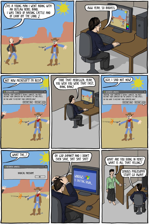Sartre Heidegger Video Game Comic
