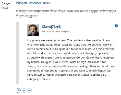 zizek on happiness